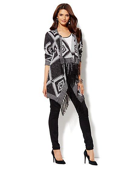 Ikat-Print Flyaway Sweater - New York & Company