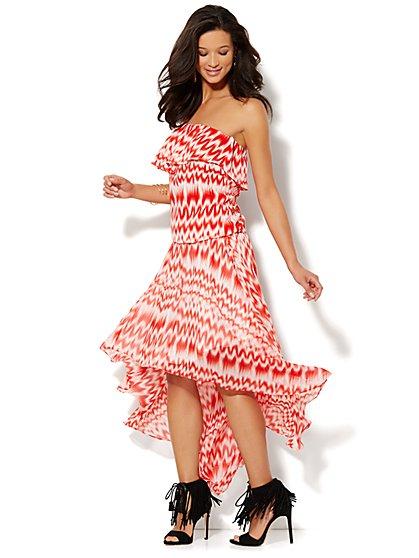 Ikat-Print Hi-Lo Skirt - New York & Company