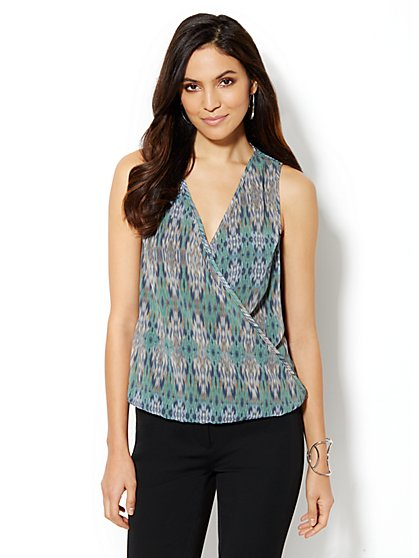 Ikat-Print Sleeveless Wrap Blouse - New York & Company
