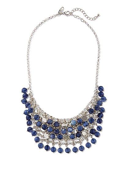 Indigo Beaded Bib Necklace  - New York & Company