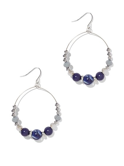 Indigo Beaded Hoop Drop Earring  - New York & Company
