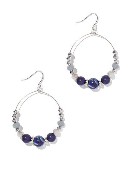 Indigo Beaded Hoop Drop Earring  - New York & Company