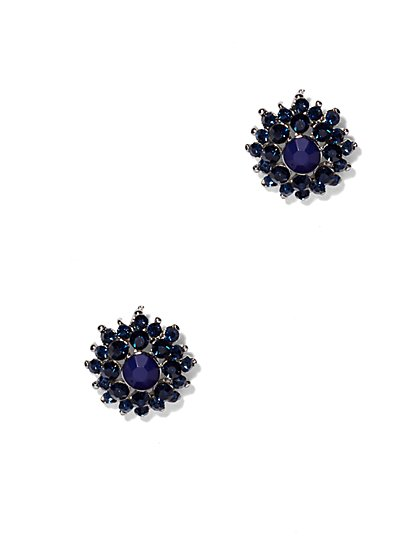 Indigo Floral Post Earring  - New York & Company