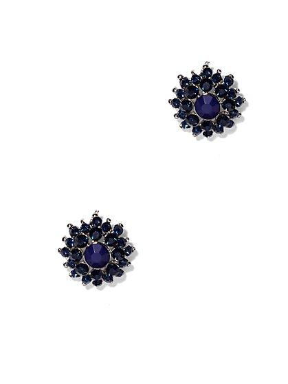 Indigo Floral Post Earring  - New York & Company