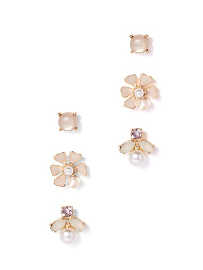 Iridescent Accent & Faux-Pearl 3-Piece Post Earring Set  - New York & Company