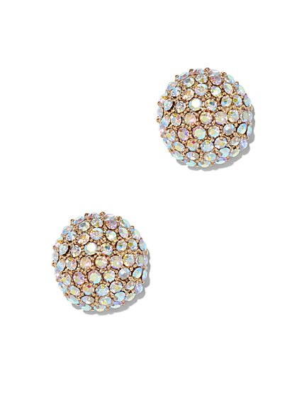 Iridescent Glass Stone Post Earring  - New York & Company