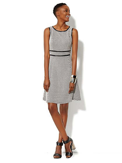 Jacquard Fit & Flare Dress - New York & Company