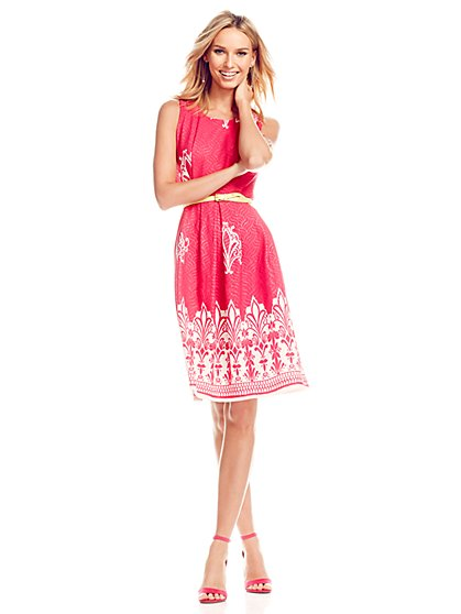 Jacquard Flare Dress - New York & Company
