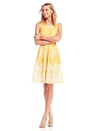 Jacquard Flare Dress - New York & Company