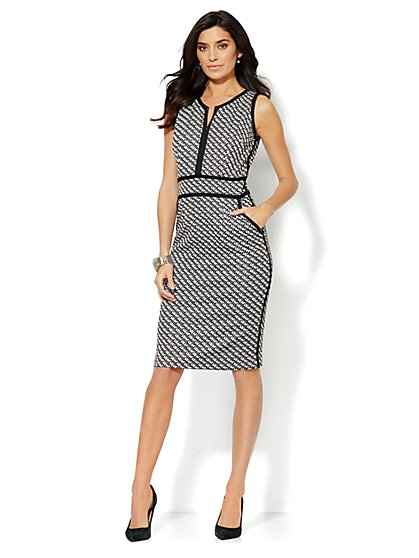 Jacquard Split-Neck Sheath Dress  - New York & Company
