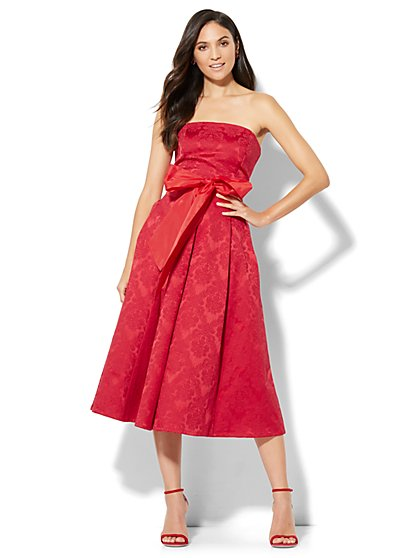 Jacquard Strapless Dress - Red - New York & Company
