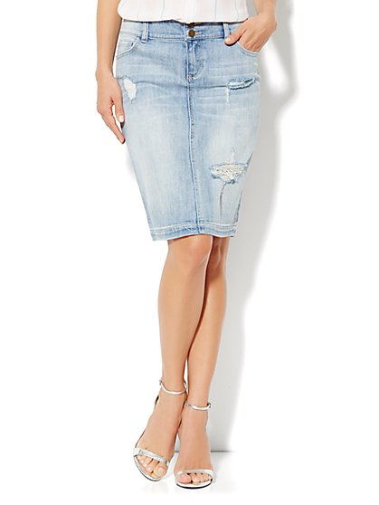 Jean Pencil Skirt - Desert Dawn Blue Wash - New York & Company