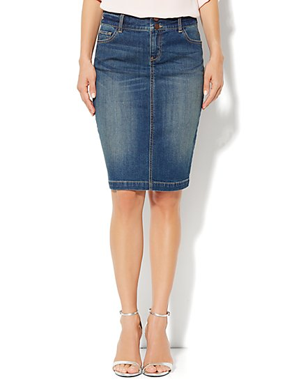 Jean Pencil Skirt - Parade Blue Wash