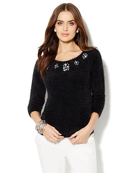 Jeweled Eyelash Sweater  - New York & Company