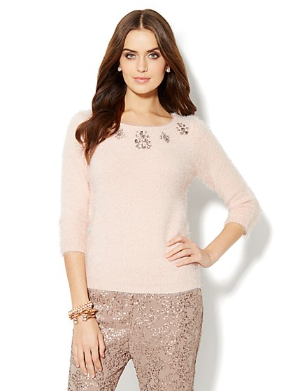 Jeweled Eyelash Sweater  - New York & Company
