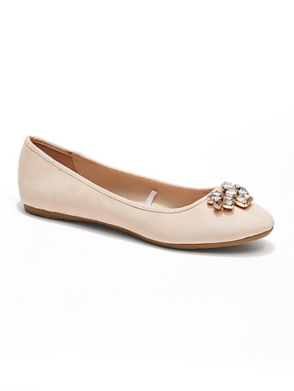Jeweled Faux-Suede Ballet Flat  - New York & Company