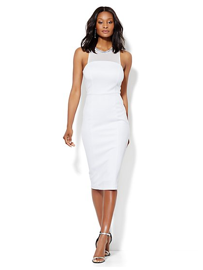 Jeweled Midi Scuba Dress  - New York & Company