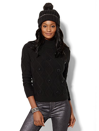 Jeweled Mock-Neck Cable-Knit Sweater  - New York & Company