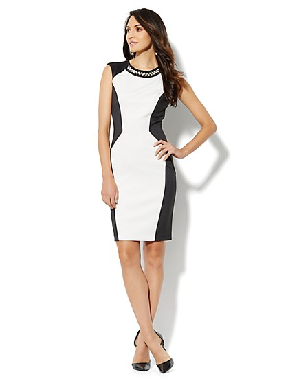 Jeweled Scuba Sheath Dress - New York & Company