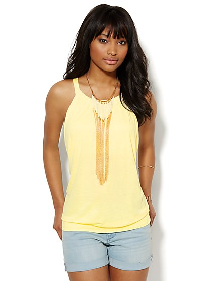 Keyhole Halter Top - Solid  - New York & Company