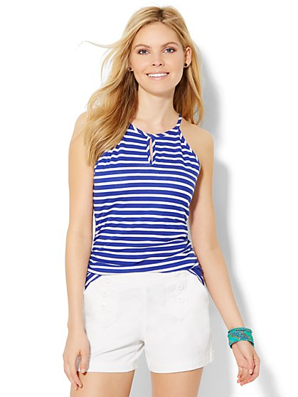 Keyhole Halter Top - Stripe  - New York & Company