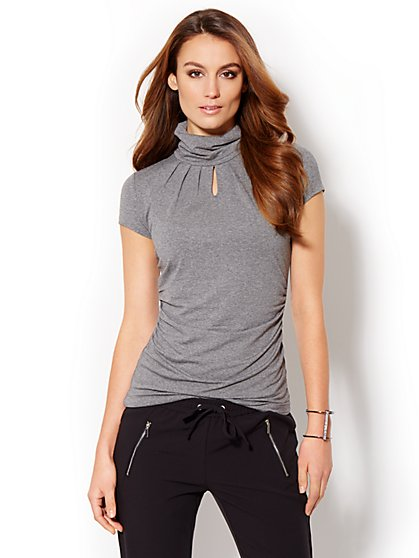 Keyhole Short-Sleeve Turtleneck  - New York & Company