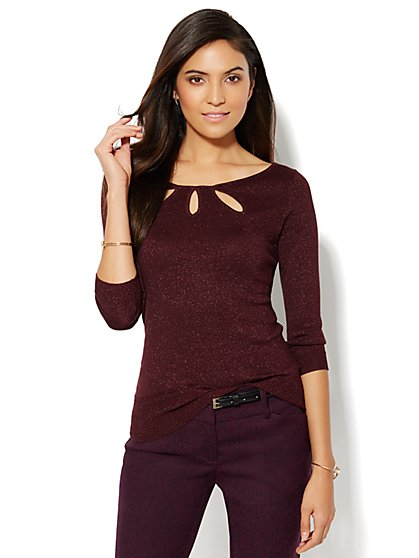 Keyhole Trio Pullover - Lurex  - New York & Company