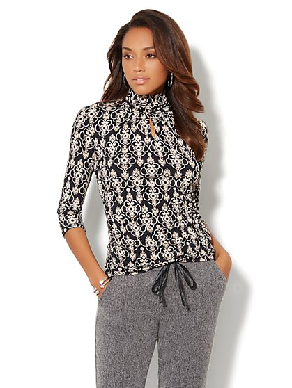 Keyhole Turtleneck  - Medallion Print - New York & Company