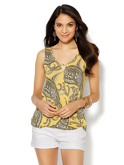 Keyhole Wrap Top - Paisley-Floral Print  - New York & Company