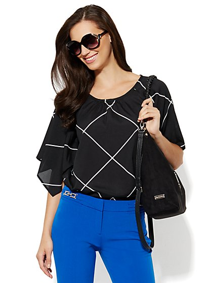 Kimono Blouse - Windowpane  - New York & Company