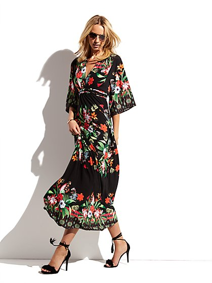 Kimono Maxi Dress - Floral  - New York & Company