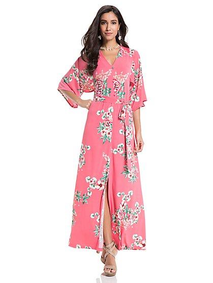 Kimono Maxi Dress - Pink Floral - New York & Company