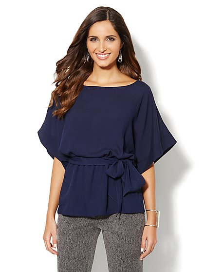 Kimono-Sleeve Belted Blouse - New York & Company