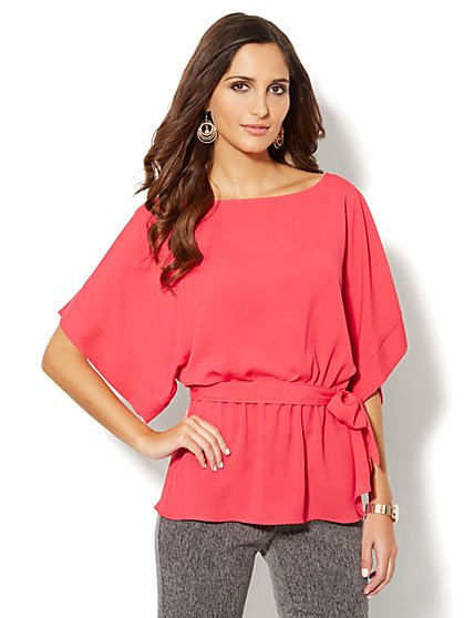 Kimono-Sleeve Belted Blouse - New York & Company