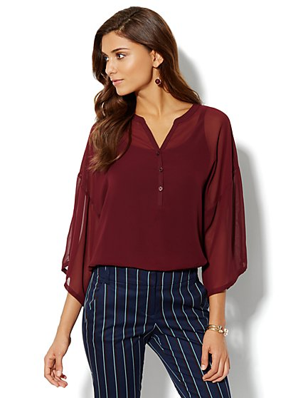 Kimono-Sleeve Blouse - Black Cherry - New York & Company