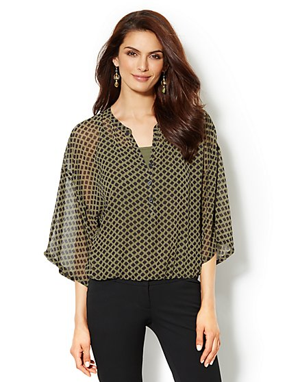 Kimono-Sleeve Blouse - Diamond Print - New York & Company