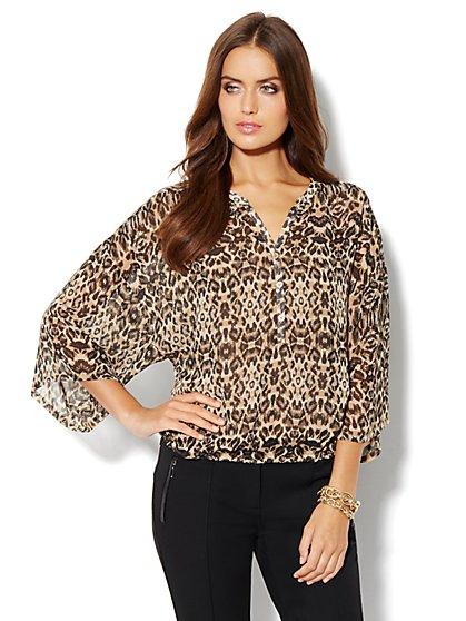 Kimono-Sleeve Blouse - Leopard Print - New York & Company