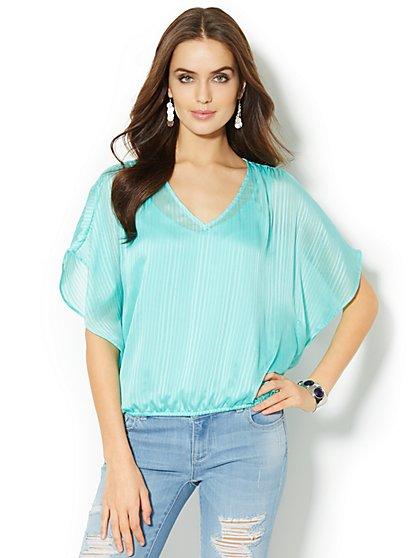 Kimono-Sleeve Overlay Blouse - New York & Company