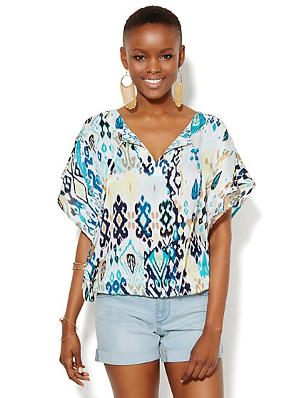 Kimono-Sleeve Scarf Top  - New York & Company