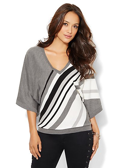 Kimono-Sleeve Sweater - Stripe  - New York & Company