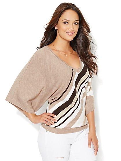 Kimono-Sleeve Sweater - Stripe  - New York & Company