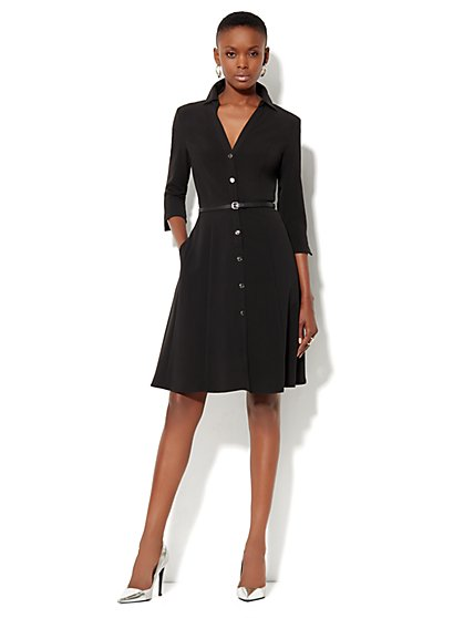 Knit Belted Shirtdress - City Double Stretch - New York & Company