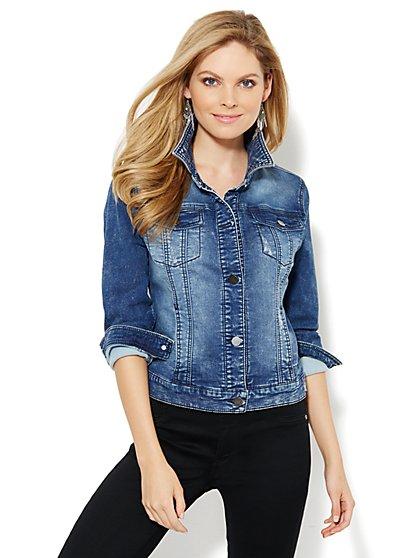 Knit Denim Jacket - Medium Marble Wash - New York & Company