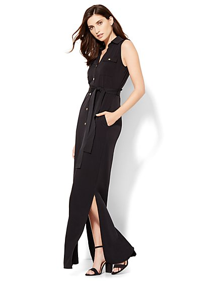 Knit Maxi Shirtdress - Black  - New York & Company
