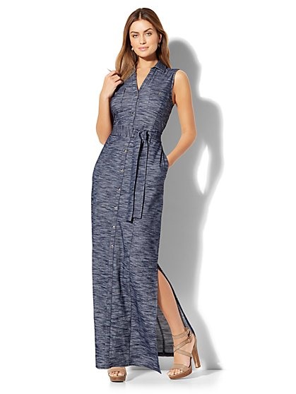 Knit Maxi Shirtdress - Navy  - New York & Company