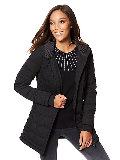 Knit Puffer Jacket - New York & Company
