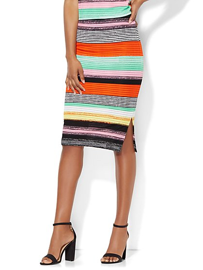 Knit & Woven Pencil Skirt - Stripe  - New York & Company
