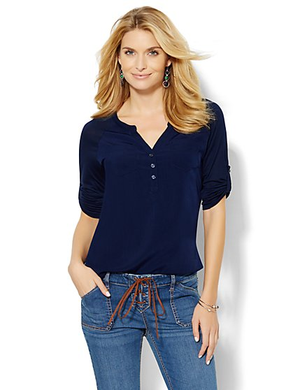 Knit/Woven Split-Neck Henley Top  - New York & Company