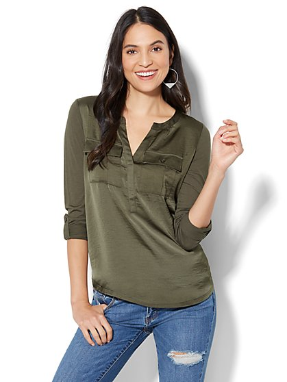 Knit & Woven Split-Neck Top - New York & Company