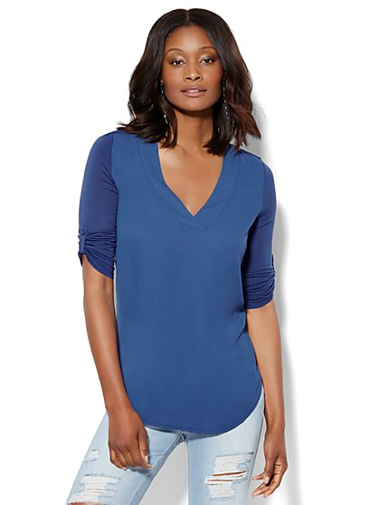 Knit & Woven V-Neck Tunic  - New York & Company